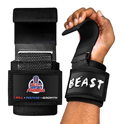 I WILL AESTHETICS Weight Lifting Hooks for Men & Women - Lifting Hooks for Weight Lifting - Deadlift Grips with Hooks - Weight Grips & Deadlift Straps (Black)