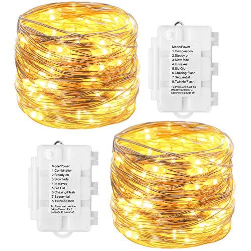 KooPower 2stk 100er LED Silber Lichterkette Batterie Lichterketten Außen,Silberdraht Lichterkette 8 Modi, Timer-Program,IP65 Wasserdicht für Outdoor,Garten,Weihnacht