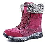 XLH Botas De Nieve para Mujer Impermeables, Agarre Resistente, Cuero, Parte Superior Textil, Térmica, Alta Tracción Ideal para Caminar En Temperaturas Frías De Invierno