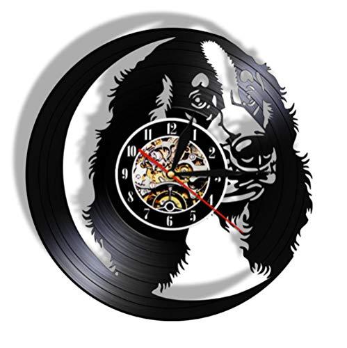GenericBrands Disco de Vinilo Reloj de Pared Perro Animal Lindo CD Retro de Vinilo artístico Colgante Hecho a Mano clásico Diseño Decoración del hogar Regalos 12 Pulgadas - Sin luz LED