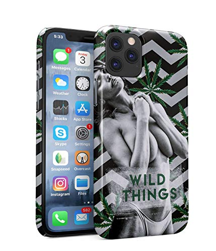Funda Protectora de Plástico Duro Para iPhone 11 Pro Max Wild Things Quote Naked Naughty Spoiled Hot Body Sexy Model Hot Girl Chill Trippy Cannabis Leaves Pattern Weed Funda Delgada y Ligera