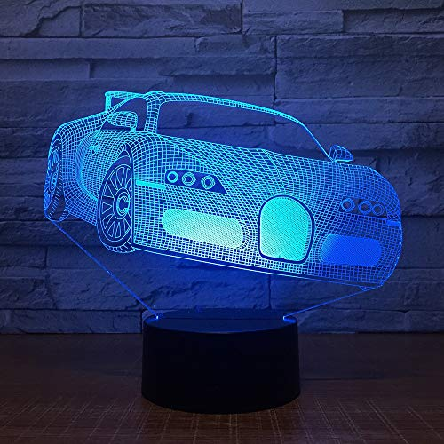 LIZIJIN Cool Racing Car LED 3D Night 7 Color Changing USB Illusion Table Lamp Bedroom Decoration Atmosphere Lamp Best Gifts, Bluetooth Stereo