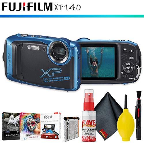 FUJIFILM FinePix XP140 Digital Camera (Sky Blue) + Editing Software + Cleaning Kit