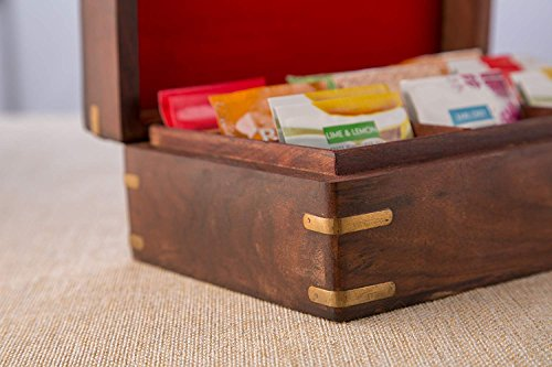 Wooden Tea Box Storage Chest Organizer Container Holder Rack With 9 Storage Compartments For Assorted Variety Of Tea Bags Loose Tea Spices & Herbs Natural Eco Friendly Vintage Rustic Decorative Box
