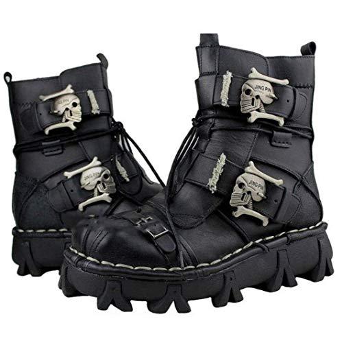 VISTANIA Mens Martin Boots Genuine Leder Leder Waterproof High Boot Army Boots Gothic Skull Punk Motorcycle Steampunk Schuhe Martin Western Cowboy Boots Uniform Boots,Black,38