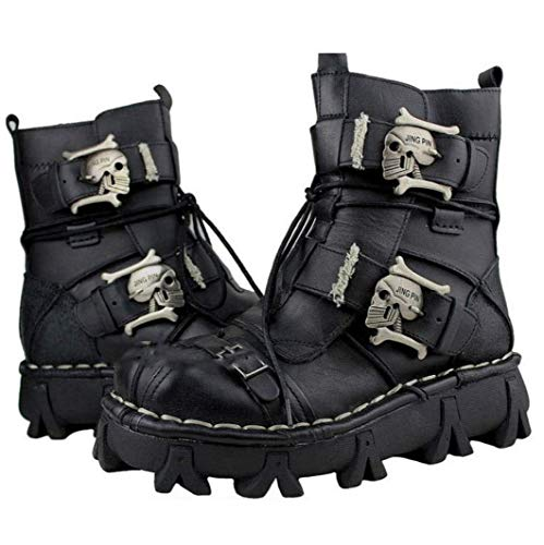 VISTANIA Mens Martin Boots Genuine Leder Leder Waterproof High Boot Army Boots Gothic Skull Punk Motorcycle Steampunk Schuhe Martin Western Cowboy Boots Uniform Boots,Black,43