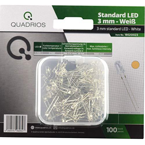 QUADRIOS GmbH Standard-LED-Set Warm-Weiß 3 mm Leuchtdioden und Dokumentation (100 Stück)