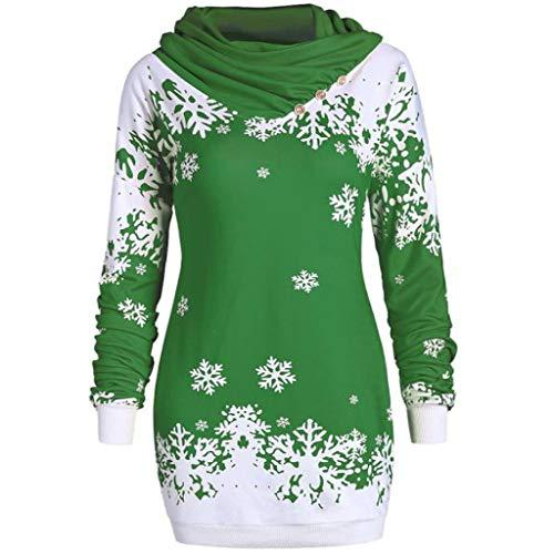 YWLINK Mode Damen Pulli Pullover Rollkragen Frauen Weihnachten Schneeflocke Gedruckte Tops Lang Sweatshirt(XXL,Grün)