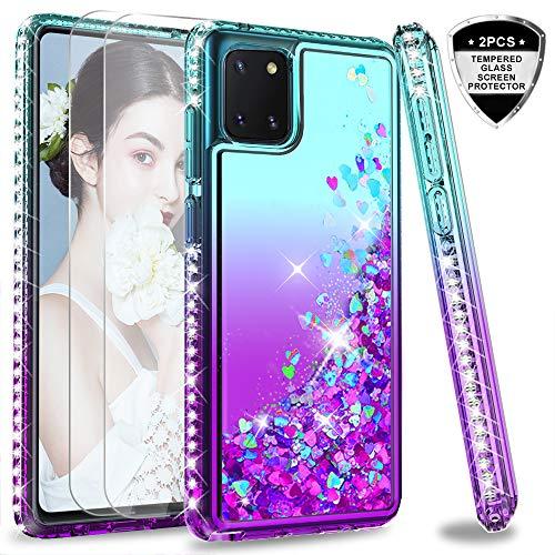LeYi für Samsung Galaxy Note 10 Lite Hülle A81 Glitzer Handyhülle mit Panzerglas Schutzfolie(2 Stück), Diamond Cover Bumper Schutzhülle für Case Samsung Galaxy A81 Handy Hüllen ZX Turquoise Purple