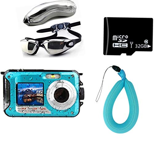 Waterproof Digital Camera for Snorkeling 24 MP Video Recorder Full HD 1080P Bundle with Swimming Goggles, 32GB SD Card, Floating Wrist Strap. DV Recording Point and Digital Shoot, Dual Screen.