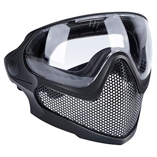 Abaodam Dual Mode Kampfmaske Outdoor Spiel Maske Gear Stahl Bildschirm Schutzmaske Unisex Outdoor Spiel Maske für Männer Frauen (Schwarz)