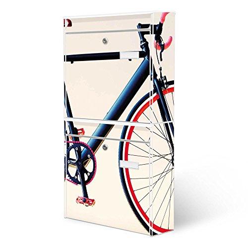 BANJADO Briefkastenanlage 2 fach | Stahl weiß mit 2 Briefkästen | Doppelbriefkasten 36x64x10cm | inklusive Namensschild | Wandmontage mit Motiv Rennrad
