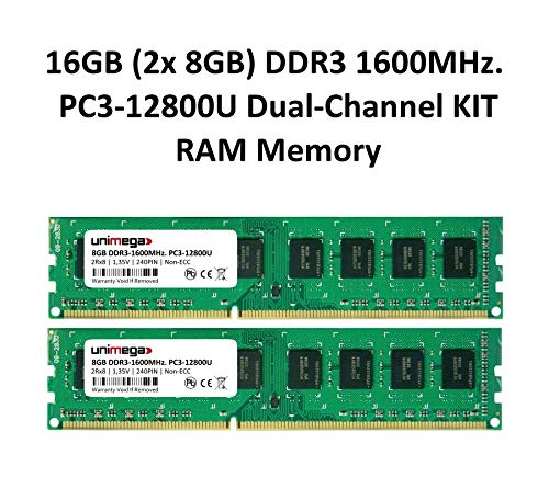 unimega 16 GB (2 x 8 GB) Dual Channel Kit DDR3 1600 MHz PC3-12800u, 240pin 1,35 V Non-ECC 3rd. PC Memoria RAM Memory