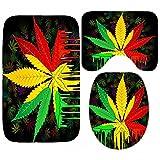 ZXCL Jamaican Flag Rasta Leaf Duschvorhang Wasserdichter Reggae Musik Badezimmervorhang...