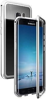 Anfire Funda para Samsung Galaxy S7 Edge con Transparent y Dura, Carcasa de [Marco de Metal] [Cierre Magnético] Duro PC Case Premium 360 Protector Caso Anti Rasguños Vidrio Cubierta Trasero - Plata