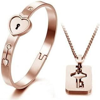 Heart Lock Love Bracelet Bangle Key Necklace Lover Jewelry Set for Couple Men Women