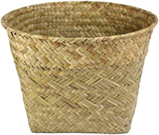 DAIMANPU Flower Basket Straw Planter Woven Flower Pot Plant Container Indoor Outdoor Storage Baskets Home Garden Decor Nat...