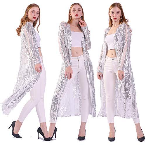 Mujeres Lentejuelas Hasta el Tobillo Sparkle Cardigan Vestidos De Abrigo Frontal A