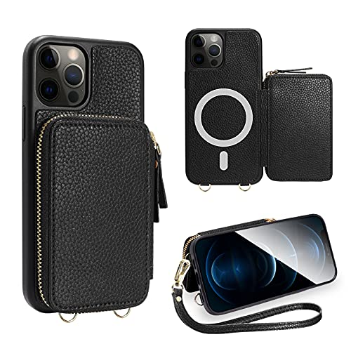 ZVE Wallet Case Compatible with iPhone 12 Pro Max 6.7'', Zipper Magsafe Case with Magnetic Work with Wireless Charger Wrist Strap Leather Cover Design for iPhone 12 Pro Max 6.7''2020-Black