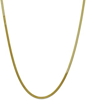 Solid 10k Yellow Gold 3.0mm Silky Herringbone Chain Necklace - with Secure Lobster Lock Clasp