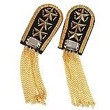 FENICAL 1 Pair Star Tassel Link Chain Epaulet Shoulder Boards Badge (Gold)