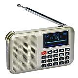 COVVY Altavoz solar portátil FM MP3 de radio, linterna de emergencia, compatible con tarjeta Micro TF / disco USB, función de apagado de tiempo, almacena estaciones automáticamente (dorado)