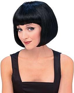 Peluca morena de Broadway, pelo corto y flequillo en negro,