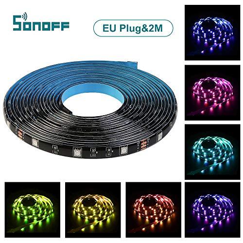 LED Streifen 2M RGB WIFI LED Stripes Lichterkette Band Streifen, SONIFF LED Leiste LED Lichtleiste LED, bis zu 16 Millionen Farben Steuerbar via App Kompatibel mit Amazon Alexa und Google Assistant