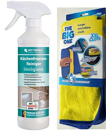 HOTREGA Küchenfronten-Reiniger Hochglanz + Microfasertuch Poliertuch