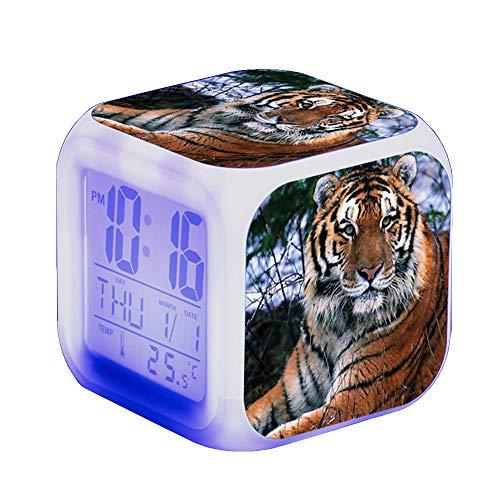 Tiger Wecker Digital Kinder Beleuchteter LED Night LCD Uhr Wake Up Wecker Geschenk für Jungen Mädchen,80x80x80cm (D)
