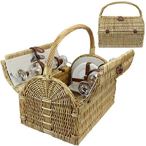 HappyPicnic picknickmand van wilgentenen voor 4 personen