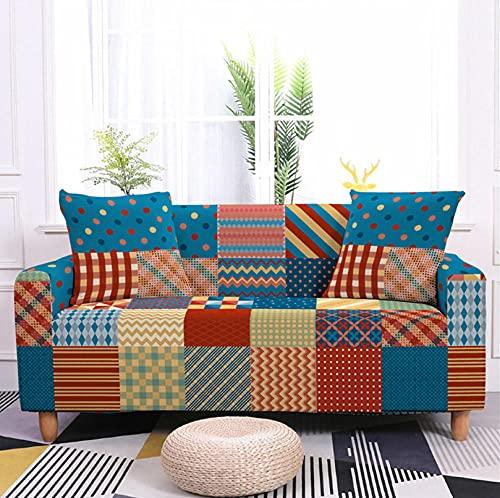 Funda Sofa Fundas para Sofa Geometría Retro de Color Elasticas de 1 2 3 4 Plazas Impresión Floral Universal Funda Cubre Sofas Ajustables,Antideslizante Protector Cubierta de Muebles
