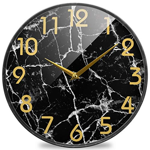 Naanle 3D Stylish Black Marble Stone Print Round Wall Clock, 12 Inch Silent Battery Operated Quartz Analog Quiet Desk Clock for Home,Office,School,Kitchen