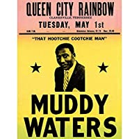 Music Concert Advert Muddy Waters Legend Blues USA Art Print Poster Wall Decor 12X16 Inch 音楽コンサート広告水伝説青アメリカ合衆国ポスター壁デコ