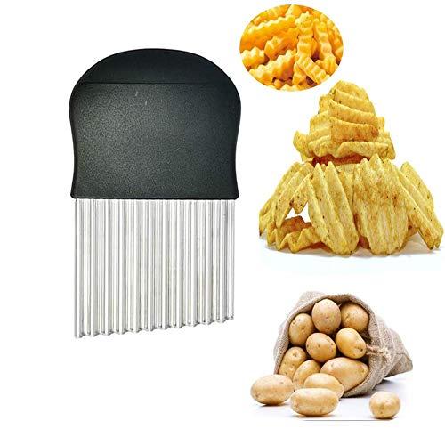 OOK Juego de cuchillos de corte Crinkle, 1 tenedor, cortador de acero inoxidable, cortador de frutas y verduras, cuchillo ondulado, cortador de cebolla, cortador de patatas fritas