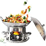 Stainless Steel Chafing Dish with Pans and Fuel Holders Mini Burner Portable Stove Cooker Adjustable Alcohol Stove for Home Party,Catering,outdoor Camping Cookware,8inch/9inch (Size : 9inch)