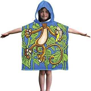 Dawhud Direct Kids Monkey Cotton Hooded Poncho Bath/Beach Towel