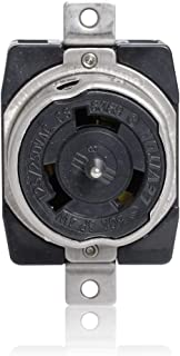 Leviton CS6369 50 Amp, 125/250 Volt AC, Black & White Locking Flush Mount Receptacle, Industrial Grade, Grounding, California-Style, Black