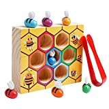 kizh Toddler Fine Motor Skill Toy, Montessori Wooden Lovely Bee Hive Toys Matching Game Color Sorting for Toddler Baby Early Educational Game Toy for 2 3 4 Years Old Kids
