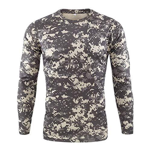 KUKICAT Homme Camouflage Tee Shirt Compression Séchage Rapid Maillot Compression Manches Longues Running Baselayer Vetement de Fitness Idéal pour Le Camping L'Alpinisme ou Le Ski