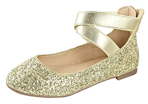 ANNA Girl Kids Dress Ballet Flat Elastic Ankle Strap Faux Suede Shoes (11 M US Little Kid, Gold)