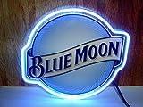 Queen Sense 14' Blue Moon Outline Acrylic Neon Sign Light Handmade Man Cave Beer Pub Bar Wall Decor Lamp WB346