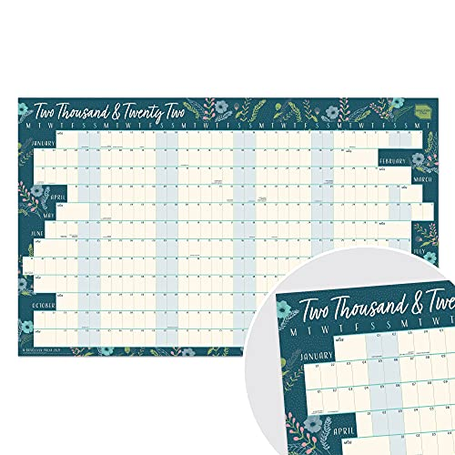 Boxclever Press Wall Planner 2022 (Linear Layout). Stunning 2022 Year Planner runs Jan'22 – Dec'22. 2022 Wall Planner for Home, Study or Work plans. Non Laminated Planner 2022 – 70 x 43cm