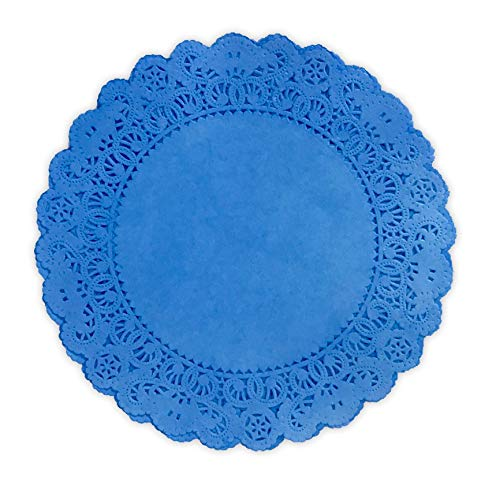25 Pack - Quality Hand Dyed Royal Blue Paper Lace Doilies | Choose from 6', 8', 10', 12' size | Stylish table decor as placemats, plate chargers for Weddings, Bridal Showers, Party Events