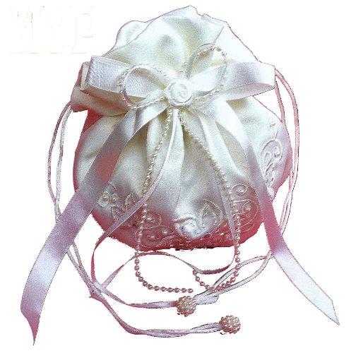 LadyMYP© Romantischer Brautbeutel, Brauttasche mit Blüten, Perlen und Strass, weiß/creme(ivory, Elfenbein) (ivory(hellcreme))