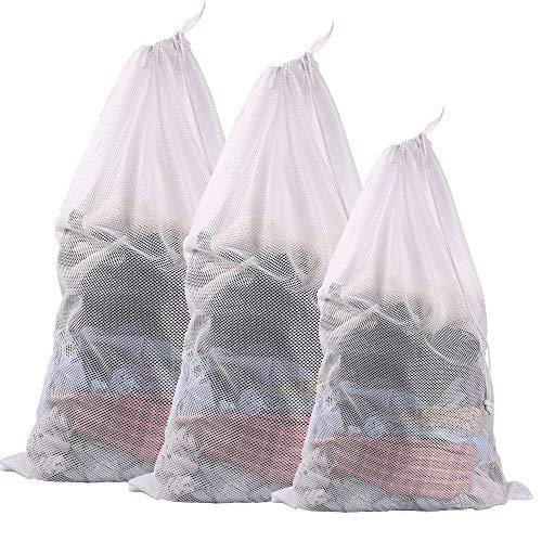 Eono by Amazon - 3 Set robusten Mesh Wäschesack Laundry Bag-2 Super groß & 1 groß mit Kordelzug Verschluss für College, Wohnheim und wohnungsbewohner