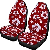 Dreaweet Red Hawaiian Floral Printed Car Seat Covers Front Seats Only Full Set of 2 Universal Fit for Girls Women Travel Car Storage Bag