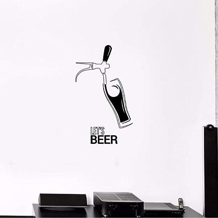 AKmene Boccale di Birra Pub Alcol Adesivo da Pub Adesivo da Parete in Vinile 52X42cm