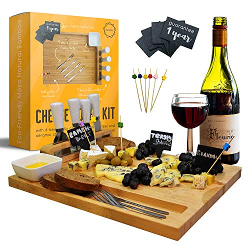 Cheese Board and Knife Set-Unique Cutting House Bamboo Home Gift Trays-Charcuterie Platter & Serving Tray for Wine, Crackers, Brie and Meat-Large & Thick Wooden Server Board-Kitchen Platter Boards Kit