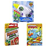 3 in 1 Bundle Pack - Hungry Hippos Grab & Go Game with Skip Bo Jr Card Game and Toy Story 4 Dart Blaster Game Set - Best for Ages 4 to 8 Years Kids
